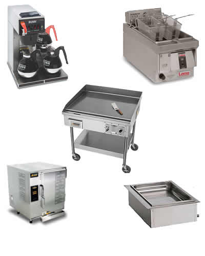 coffee brewers, fryers, toasters, griddles, grills
