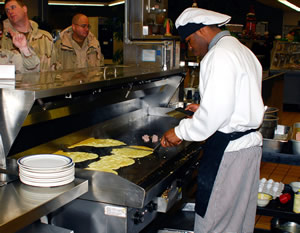 Grilling pancakes for the crew on US Navy Ships